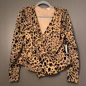 Leopard Print Wrap Top